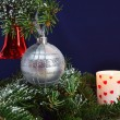 Christmas tree branches and decorations — Stock Photo