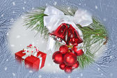 Christmas background with jingle bells — Stock Photo