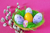 Easter eggs in basket — Photo