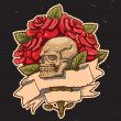 Vector roses and scull - Stok Vektör