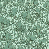 Vector octopus seamless pattern — Stock Vector