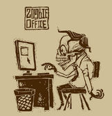 Vector zombie in office — Stock Vector