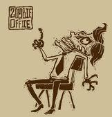 Vector zombie in office — Stock Vector