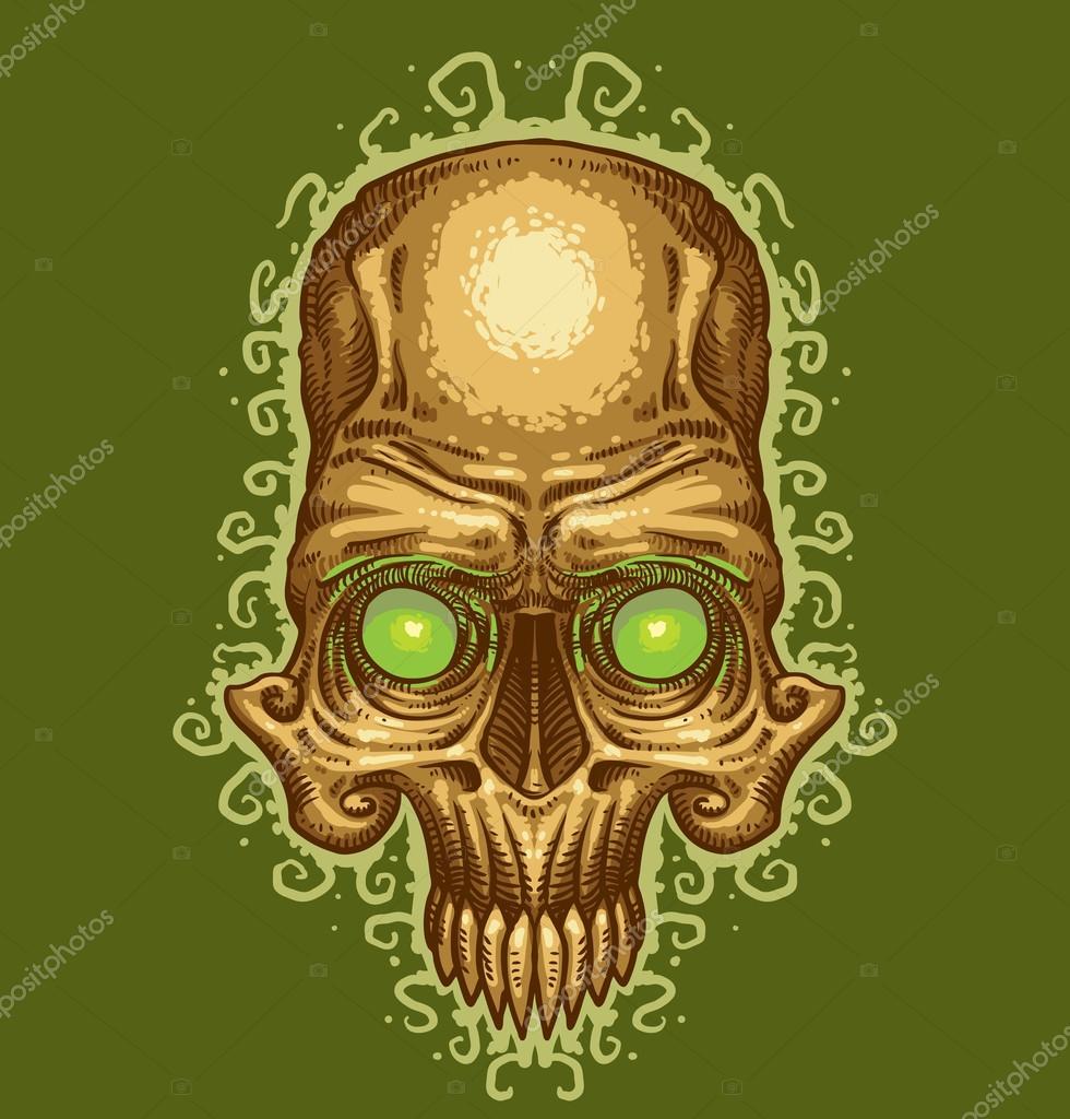 tatuaje de calavera Vector - Ilustración de stock