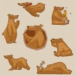 Vector funny bear set - Imagens vectoriais em stock