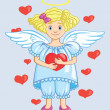 Angel With Heart — Stock Vector
