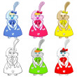 Easter Bunny Girls Colorful — Stock Vector