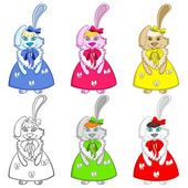 Easter Bunny Girls Colorful — Vector de stock