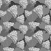 Grapes and Leaves Grayscale — Stock Vector