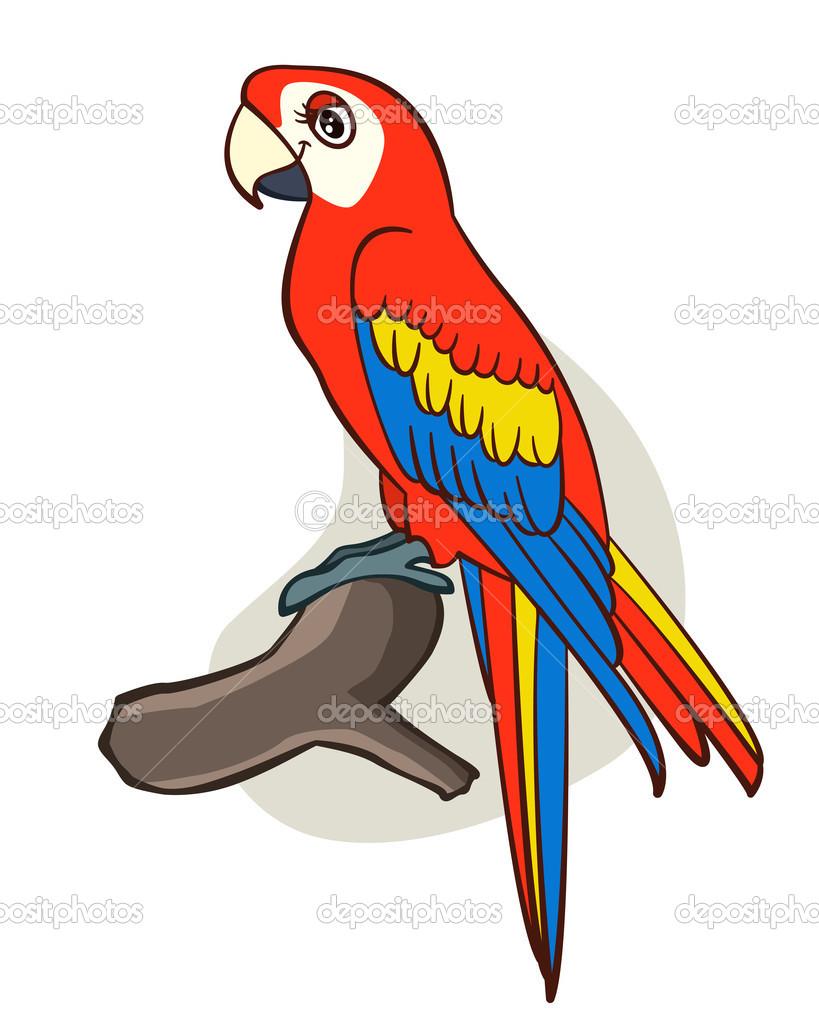 Рисунок попугая мультяшной