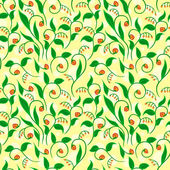 Floral Pattern With Yellow Dots — ストックベクタ