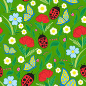 Seamless Flora Fauna Pattern — Stock Vector