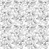 Seamless Love Flower Pattern White — Stock Vector