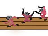Three monkeys running on a path — Stock Vector
