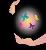 Being shone sphere with butterflies in hands — Stock Vector
