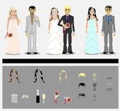 Satz von Bräutigame und Bräute — Stockvektor