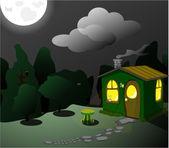 Fantastico lodge verde di notte — Vettoriale Stock
