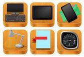 Trä ikoner set vektor — Stockvektor