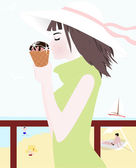 Girl with ice cream vector — Stock Vector