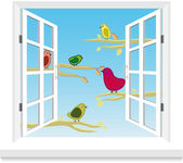 Birds in the window vector — Stock Vector