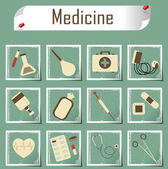 Retro vector icons medicine — Stock Vector