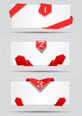 Cards with red ribbons vector — Stock Vector