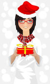 Girl with Christmas gift vector — Stock Vector