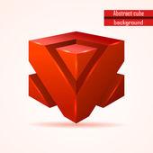 Vector abstracto cubo rojo — Vector de stock