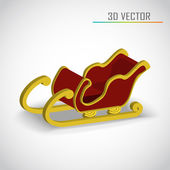 Christmas sleigh 3d vector — Stock Vector
