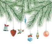 Spielzeug am weihnachtsbaum-vektor — Stockvektor