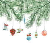 Toys on Christmas tree vector — Stock Vector
