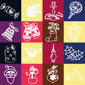 Set of christmas icons vector — Stock Vector