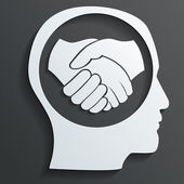 Handshake in the head vector — Stock Vector