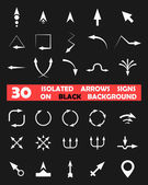 Isolated vector arrows signs on black background — Stockvector
