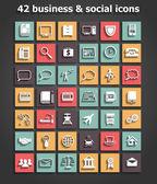 社会和商业图标设置矢量 — 图库矢量图片