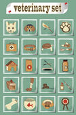 Set of veterinary vector icons — Stock Vector