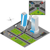 Isometric city vector — Stock Vector