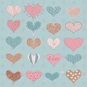Valentine's Day Hearts Retro Sketchy Doodles vector — Stock Vector