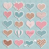情人节那天心贴纸矢量的复古粗略涂鸦 — 图库矢量图片