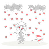 Doodle girl with umbrella under rain of hearts vector — Vector de stock