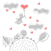 Doodle Girl Flies on Ball in the Rain of Hearts vector — Stock Vector