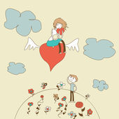Doodle Girl Flies on the Heart over a Boy vector — Stock Vector