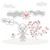 Doodle Girl standing in front Tree Flower of Hearts under the Sun and Clouds vector — Stock Vector