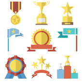 Flat Design Style Awards and Trophy Icons Set Isolated for Web Mobole vector — Stock Vector