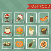Flat design retro style fast food icons set on tablecloth background vector — Stock Vector