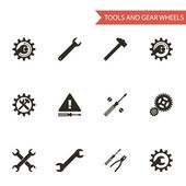 Flat Design Style Black Tools Gear Wheels Icons Set Isolated for Web and Mobole vector — Stock Vector