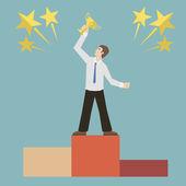 Flat design style businessman holding golden trophy bowl victory concept illustration vector — Vetorial Stock