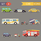 Retro Flat Car Icons Set vector — Stock Vector