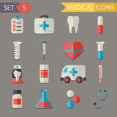Retro Flat Medical Icons and Symbols Set vector — Stok Vektör