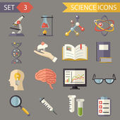 Retro Flat Science Icons and Symbols Set vector — Vector de stock
